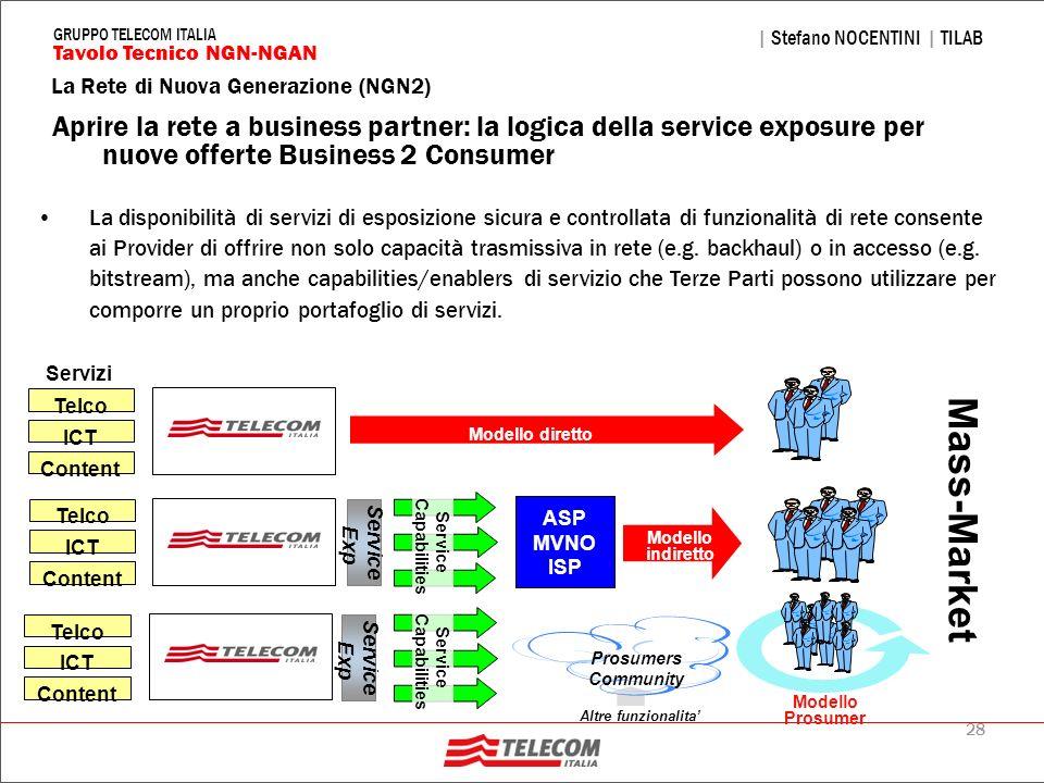 28 La Rete di Nuova Generazione (NGN2) | Stefano NOCENTINI | TILAB Tavolo Tecnico NGN-NGAN GRUPPO TELECOM ITALIA Aprire la rete a business partner: la
