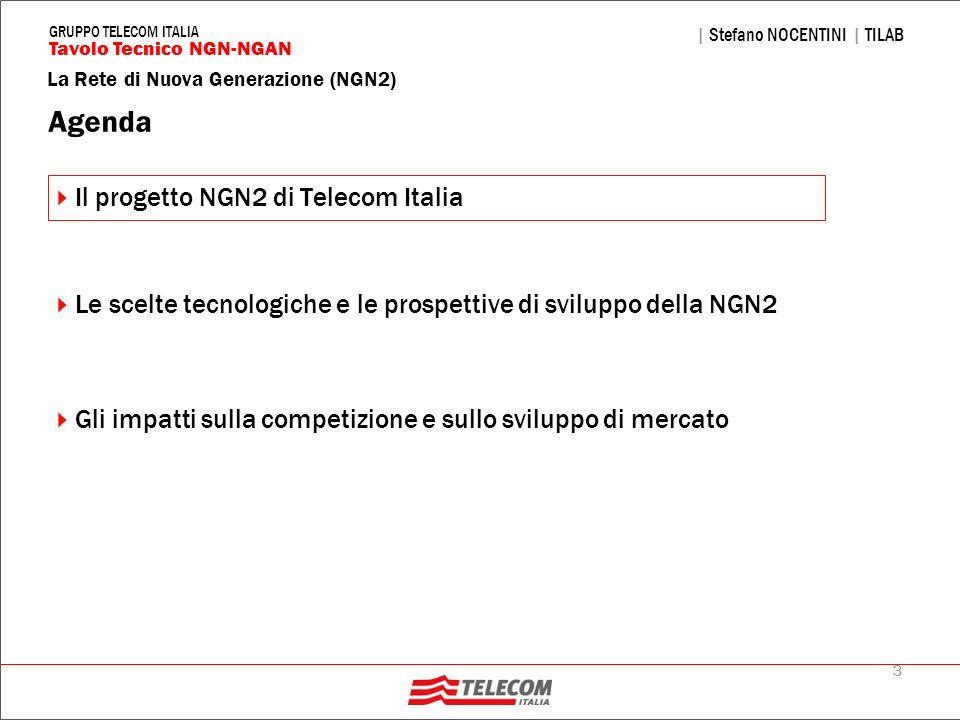 34 La Rete di Nuova Generazione (NGN2) | Stefano NOCENTINI | TILAB Tavolo Tecnico NGN-NGAN GRUPPO TELECOM ITALIA Le tecnologie per lultra broad band – Portante rame FTTCab: tratte brevi (100-700m) VDSL2, profilo spettrale a 12 MHz (12a) VDSL2, profilo spettrale 17 MHz (17a) per aumen- tare la capacità trasmissiva sui collegamenti più corti, sfruttamento del bonding per le tratte più lunghe FTTB/FTTCurb: tratte molto brevi (max 150 m) VDSL2, profili a 30 MHz (30a), eventualmente 17 MHz (17a) laddove adeguato per il primo deployment Central Office Street Cabinet Metro Feeder ONU VDSL2 ONU VDSL2 OLT GbE FTTCAB FTTB Central Office Metro Feeder OLT GPON VDSL2 (12/17 MHz) VDSL2 (17/30 MHz)