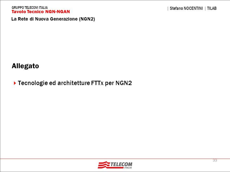 33 La Rete di Nuova Generazione (NGN2) | Stefano NOCENTINI | TILAB Tavolo Tecnico NGN-NGAN GRUPPO TELECOM ITALIA Allegato Tecnologie ed architetture F