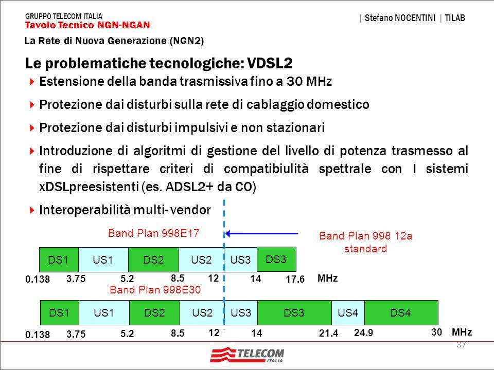 37 La Rete di Nuova Generazione (NGN2) | Stefano NOCENTINI | TILAB Tavolo Tecnico NGN-NGAN GRUPPO TELECOM ITALIA Le problematiche tecnologiche: VDSL2