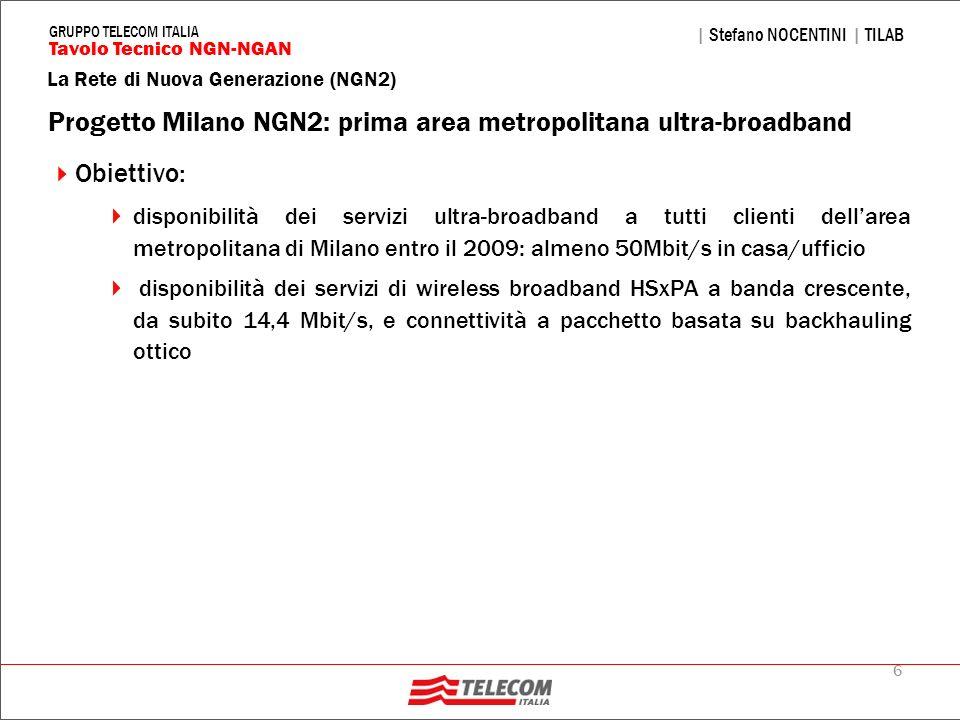 6 La Rete di Nuova Generazione (NGN2) | Stefano NOCENTINI | TILAB Tavolo Tecnico NGN-NGAN GRUPPO TELECOM ITALIA Progetto Milano NGN2: prima area metro