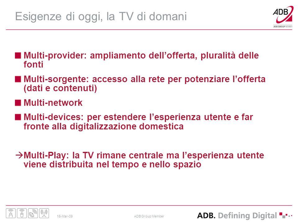 18-Mar-09ADB Group Member Esigenze di oggi, la TV di domani Multi-provider: ampliamento dellofferta, pluralità delle fonti Multi-sorgente: accesso all