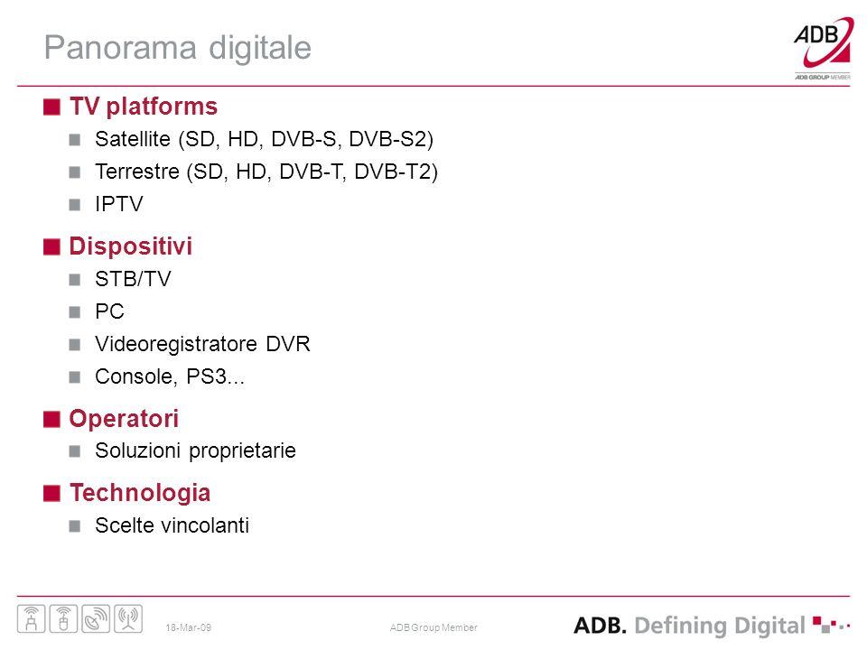 18-Mar-09ADB Group Member Panorama digitale TV platforms Satellite (SD, HD, DVB-S, DVB-S2) Terrestre (SD, HD, DVB-T, DVB-T2) IPTV Dispositivi STB/TV PC Videoregistratore DVR Console, PS3...
