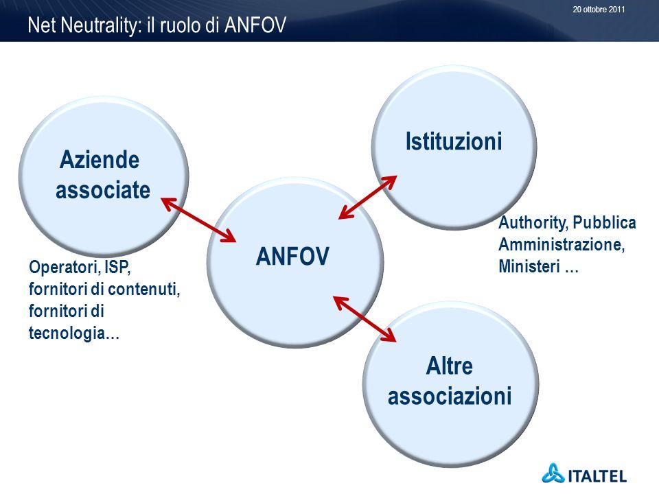 Net Neutrality: il ruolo di ANFOV 20 ottobre 2011 ANFOV Istituzioni Operatori, ISP, fornitori di contenuti, fornitori di tecnologia… Aziende associate Authority, Pubblica Amministrazione, Ministeri … Altre associazioni