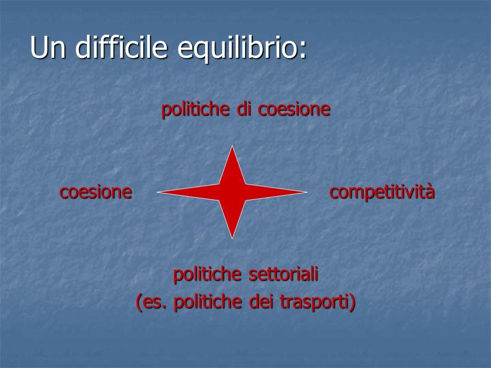 Un difficile equilibrio: politiche di coesione coesione competitività coesione competitività politiche settoriali (es. politiche dei trasporti)