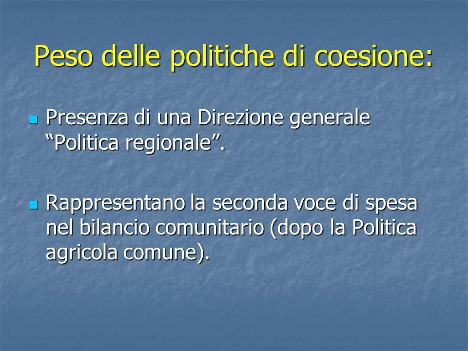 Peso delle politiche di coesione: Presenza di una Direzione generale Politica regionale. Presenza di una Direzione generale Politica regionale. Rappre
