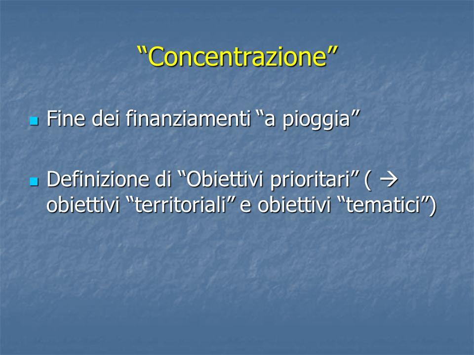 Concentrazione Fine dei finanziamenti a pioggia Fine dei finanziamenti a pioggia Definizione di Obiettivi prioritari ( obiettivi territoriali e obiett