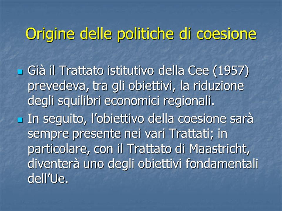 Origine delle politiche di coesione Già il Trattato istitutivo della Cee (1957) prevedeva, tra gli obiettivi, la riduzione degli squilibri economici r