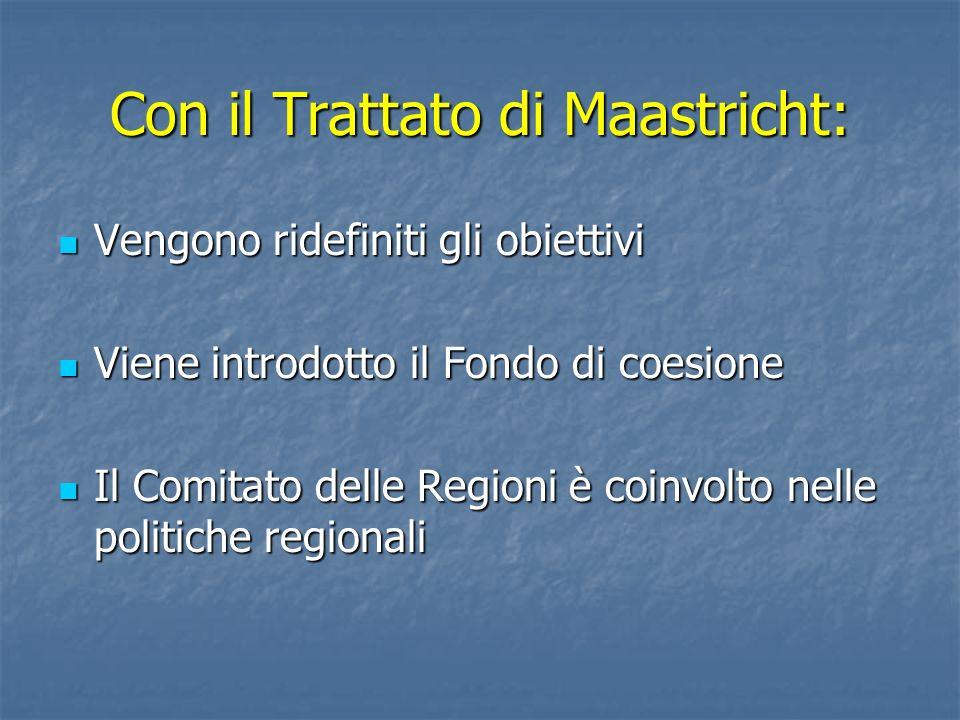 Con il Trattato di Maastricht: Vengono ridefiniti gli obiettivi Vengono ridefiniti gli obiettivi Viene introdotto il Fondo di coesione Viene introdott