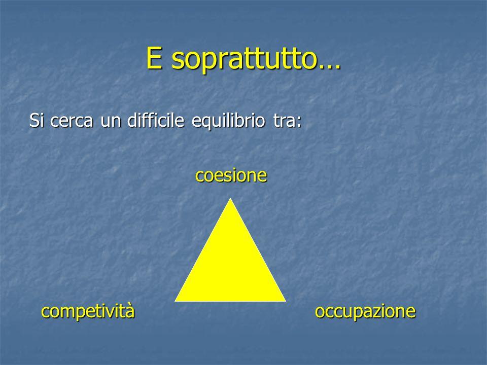 E soprattutto… Si cerca un difficile equilibrio tra: coesione coesione competività occupazione competività occupazione