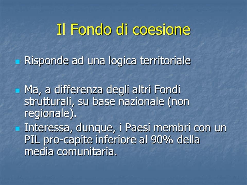 Il Fondo di coesione Risponde ad una logica territoriale Risponde ad una logica territoriale Ma, a differenza degli altri Fondi strutturali, su base n