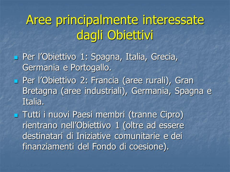Aree principalmente interessate dagli Obiettivi Per lObiettivo 1: Spagna, Italia, Grecia, Germania e Portogallo. Per lObiettivo 1: Spagna, Italia, Gre