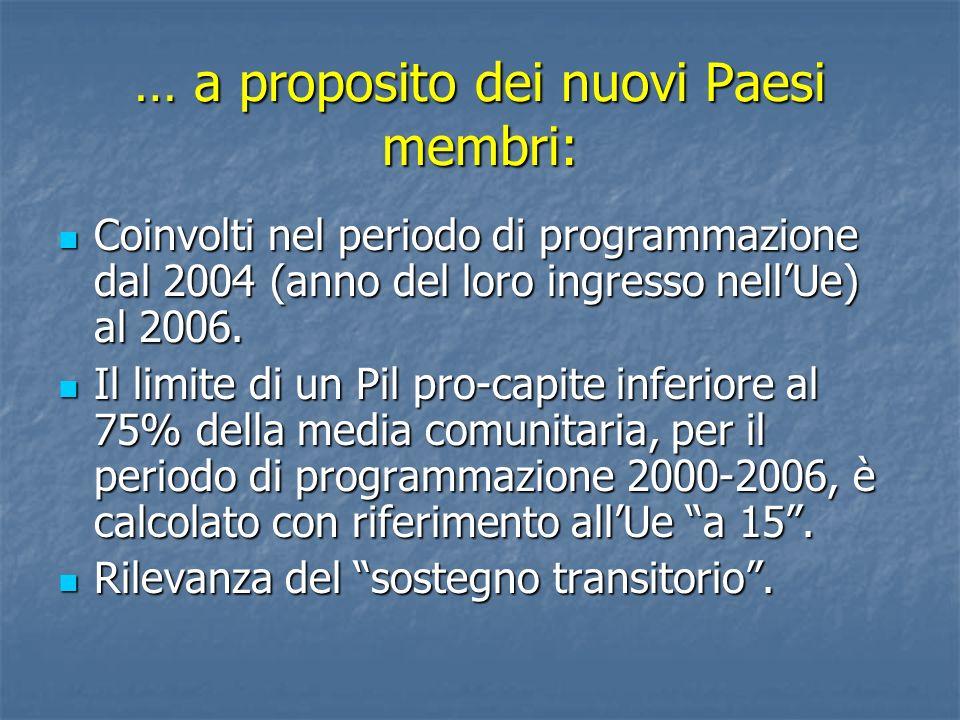 … a proposito dei nuovi Paesi membri: Coinvolti nel periodo di programmazione dal 2004 (anno del loro ingresso nellUe) al 2006. Coinvolti nel periodo