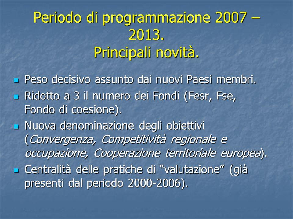 Periodo di programmazione 2007 – 2013. Principali novità. Peso decisivo assunto dai nuovi Paesi membri. Peso decisivo assunto dai nuovi Paesi membri.