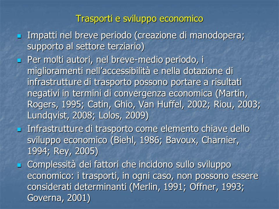 Trasporti e sviluppo economico Impatti nel breve periodo (creazione di manodopera; supporto al settore terziario) Impatti nel breve periodo (creazione