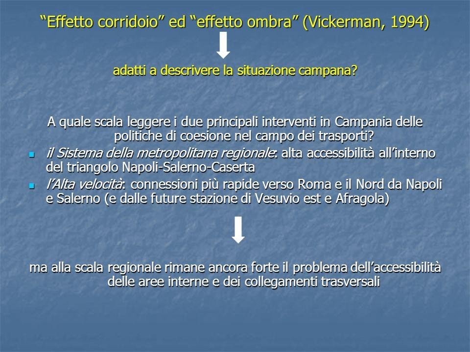 Effetto corridoio ed effetto ombra (Vickerman, 1994) adatti a descrivere la situazione campana? A quale scala leggere i due principali interventi in C