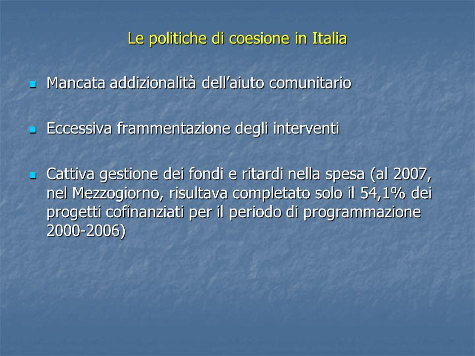 Le politiche di coesione in Italia Mancata addizionalità dellaiuto comunitario Mancata addizionalità dellaiuto comunitario Eccessiva frammentazione de