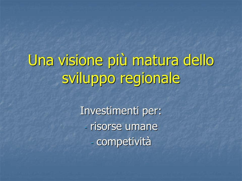 Una visione più matura dello sviluppo regionale Investimenti per: - risorse umane - competività