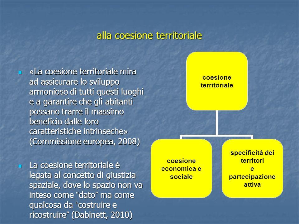 alla coesione territoriale « La coesione territoriale mira ad assicurare lo sviluppo armonioso di tutti questi luoghi e a garantire che gli abitanti p