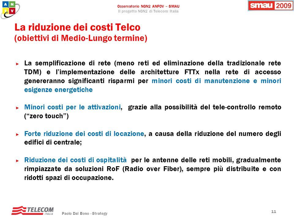 Osservatorio NGN2 ANFOV – SMAU Il progetto NGN2 di Telecom Italia Paolo Dal Bono - Strategy 11 La riduzione dei costi Telco (obiettivi di Medio-Lungo