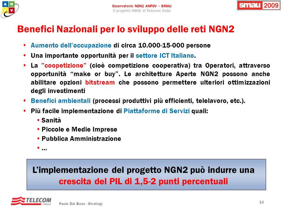 Osservatorio NGN2 ANFOV – SMAU Il progetto NGN2 di Telecom Italia Paolo Dal Bono - Strategy 12 Benefici Nazionali per lo sviluppo delle reti NGN2 Aume