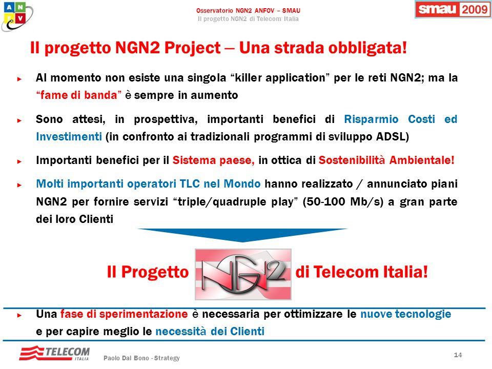 Osservatorio NGN2 ANFOV – SMAU Il progetto NGN2 di Telecom Italia Paolo Dal Bono - Strategy 14 Il progetto NGN2 Project – Una strada obbligata! Al mom
