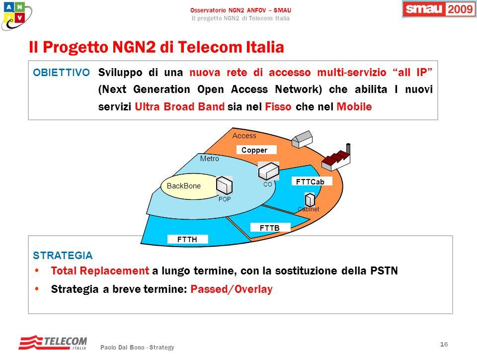 Osservatorio NGN2 ANFOV – SMAU Il progetto NGN2 di Telecom Italia Paolo Dal Bono - Strategy 16 STRATEGIA Total Replacement a lungo termine, con la sos