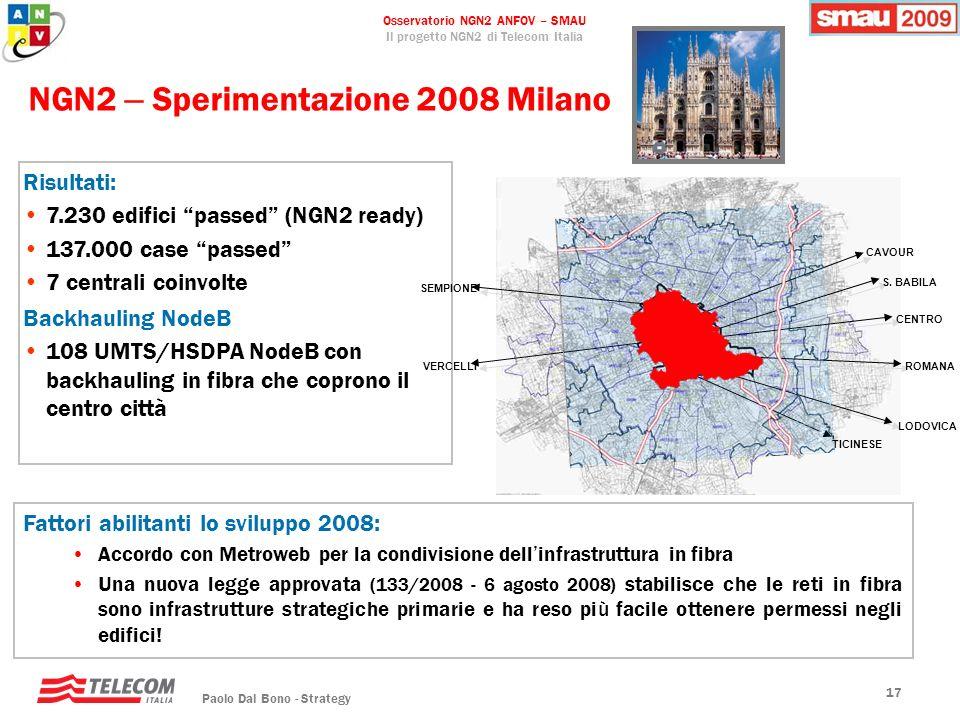 Osservatorio NGN2 ANFOV – SMAU Il progetto NGN2 di Telecom Italia Paolo Dal Bono - Strategy 17 NGN2 – Sperimentazione 2008 Milano Fattori abilitanti l