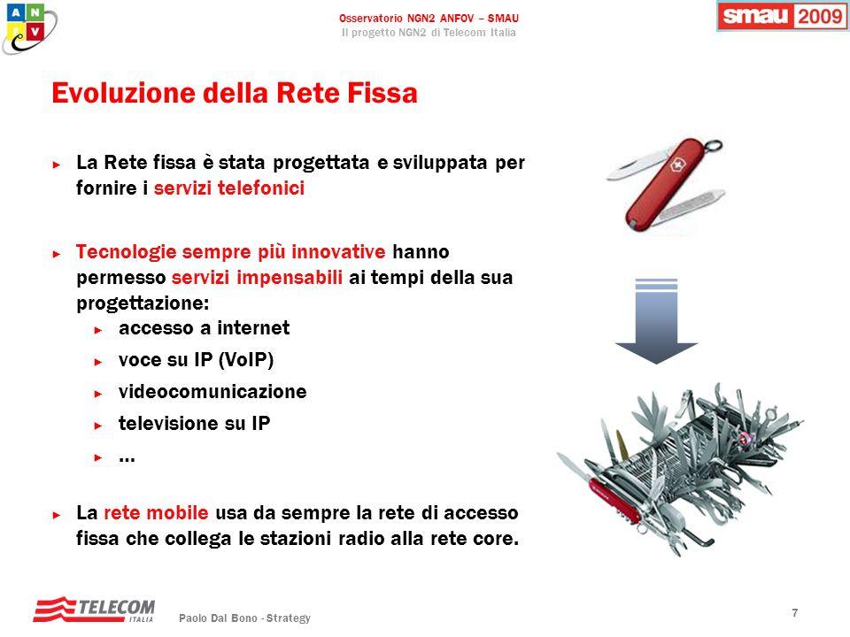 Osservatorio NGN2 ANFOV – SMAU Il progetto NGN2 di Telecom Italia Paolo Dal Bono - Strategy 7 Evoluzione della Rete Fissa La Rete fissa è stata proget