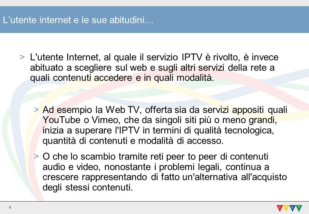 5 IPTV in Italia >In Italia attualmente sono disponibili quattro offerte IPTV: >TVdiFASTWEBTVdiFASTWEB >Alice Home TVAlice Home TV >Infostrada TVInfostrada TV >Tiscali TV (il servizio è stato dismesso il 31 dicembre 2008)Tiscali TV >Nel 2009 i tre fornitori di servizi ancora attivi nel settore (Fastweb, Telecom e Infostrada) si sono accordati per progettare un decoder comune e proporre una soluzione con una tecnologia condivisa.