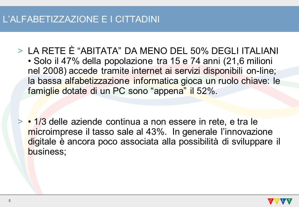 8 LALFABETIZZAZIONE E I CITTADINI >LA RETE È ABITATA DA MENO DEL 50% DEGLI ITALIANI Solo il 47% della popolazione tra 15 e 74 anni (21,6 milioni nel 2