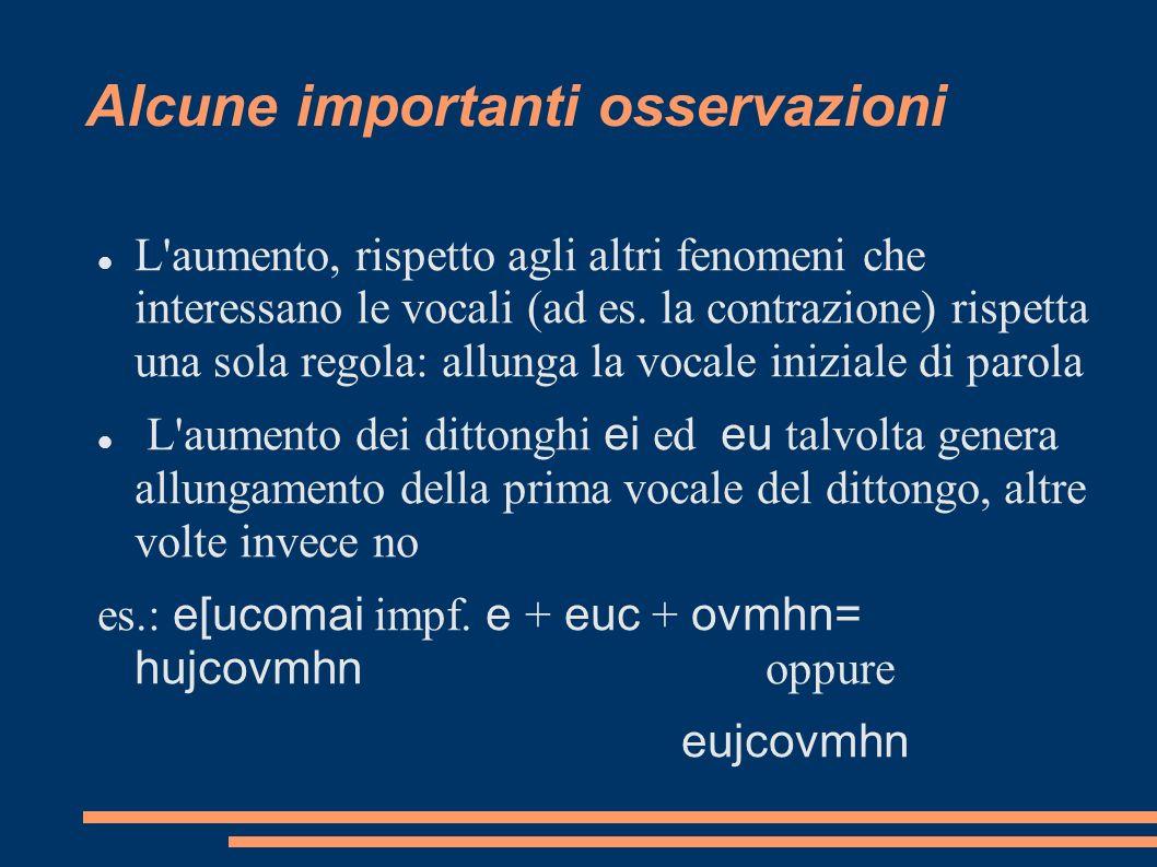 L'aumento, rispetto agli altri fenomeni che interessano le vocali (ad es. la contrazione) rispetta una sola regola: allunga la vocale iniziale di paro