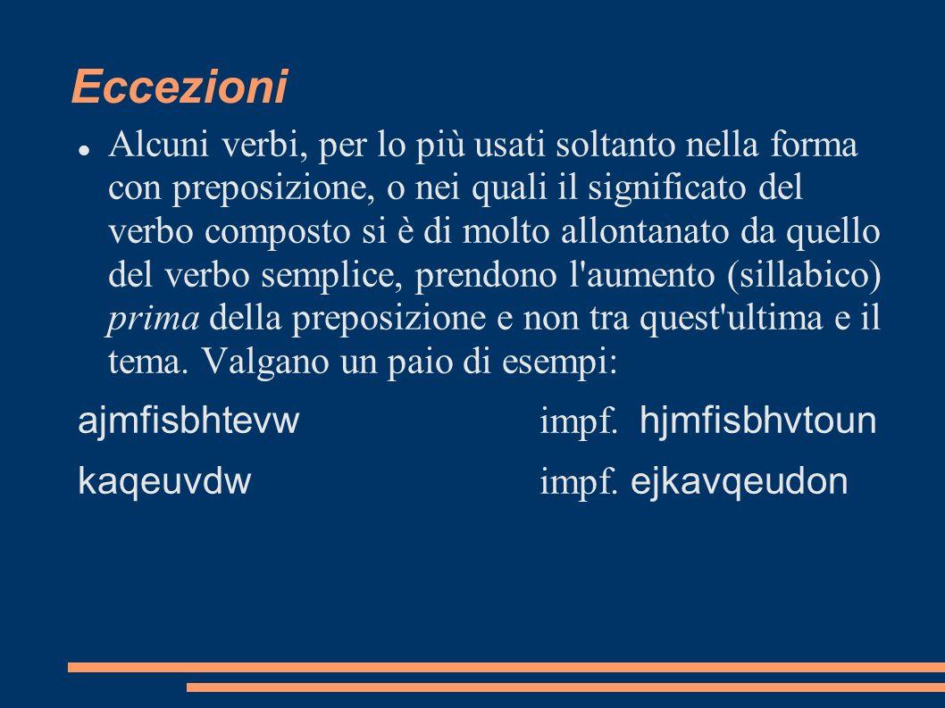 Eccezioni Alcuni verbi, per lo più usati soltanto nella forma con preposizione, o nei quali il significato del verbo composto si è di molto allontanat