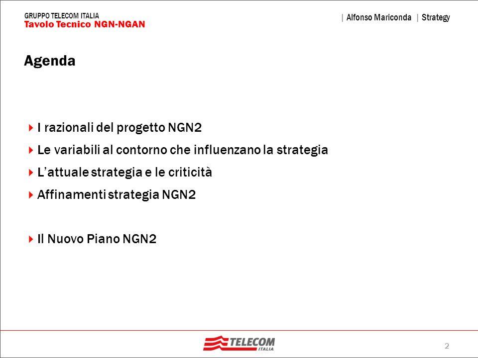 2 | Alfonso Mariconda | Strategy Tavolo Tecnico NGN-NGAN GRUPPO TELECOM ITALIA Agenda I razionali del progetto NGN2 Le variabili al contorno che influ