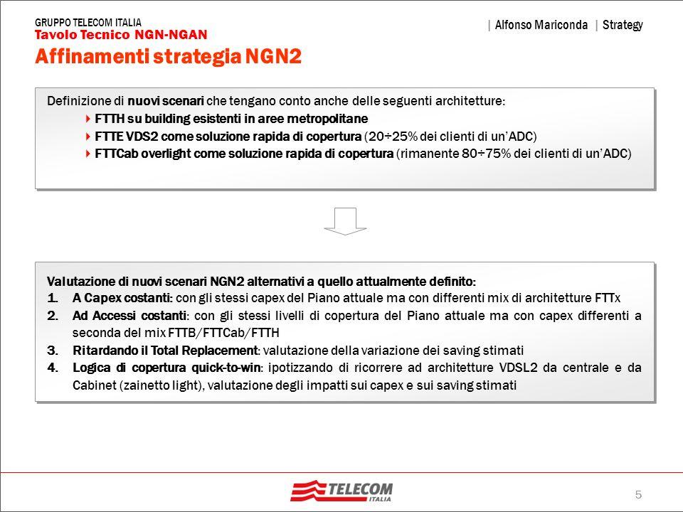 5 | Alfonso Mariconda | Strategy Tavolo Tecnico NGN-NGAN GRUPPO TELECOM ITALIA Affinamenti strategia NGN2 Definizione di nuovi scenari che tengano con
