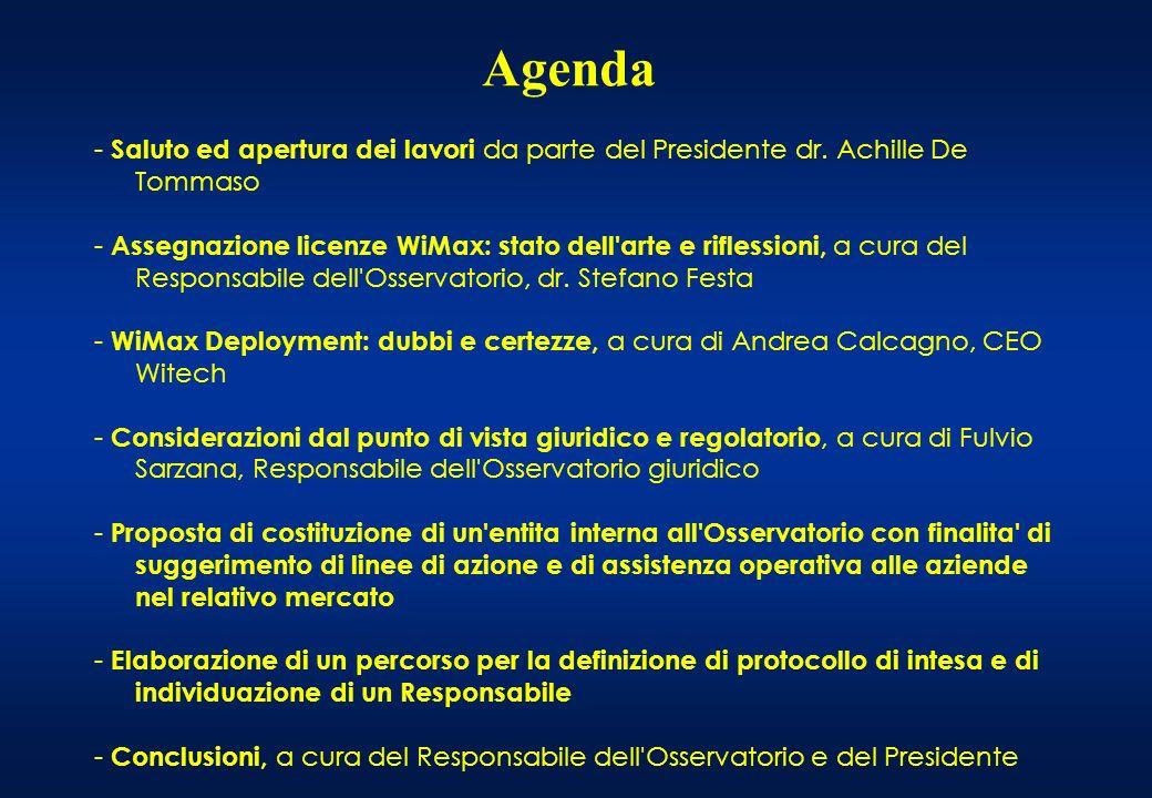 Osservatorio WiMAX Milano, 27 Marzo 2008 Assegnazione delle licenze WiMAX Analisi dello scenario competitivo e degli elementi di criticità Stefano Festa Responsabile Osservatorio WiMAX ANFoV Vice President Solving International