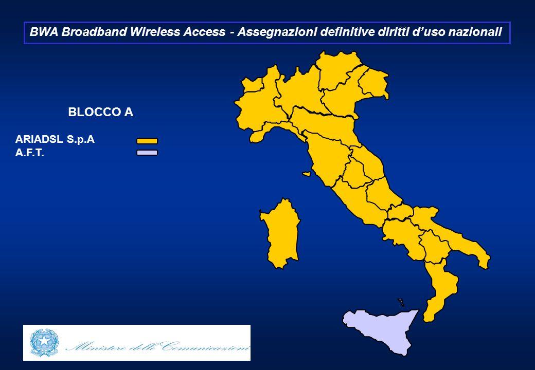 BWA Broadband Wireless Access - Assegnazioni definitive diritti duso nazionali BLOCCO A ARIADSL S.p.A A.F.T.