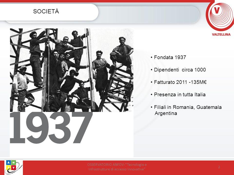 Fondata 1937 Dipendenti circa 1000 Fatturato 2011 -135M Presenza in tutta Italia Filiali in Romania, Guatemala Argentina 2 SOCIETÀ OSSERVATORIO ANFOV-Tecnologie e infrastrutture di accesso innovative