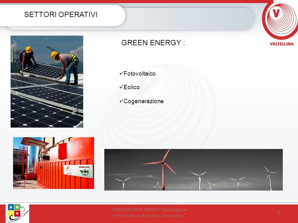 6 SETTORI OPERATIVI GREEN ENERGY : Fotovoltaico Eolico Cogenerazione OSSERVATORIO ANFOV-Tecnologie e infrastrutture di accesso innovative