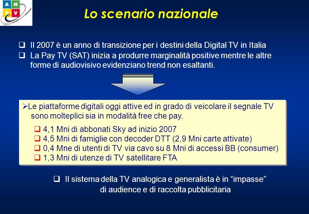 Lo scenario nazionale Il 2007 è un anno di transizione per i destini della Digital TV in Italia La Pay TV (SAT) inizia a produrre marginalità positive mentre le altre forme di audiovisivo evidenziano trend non esaltanti.
