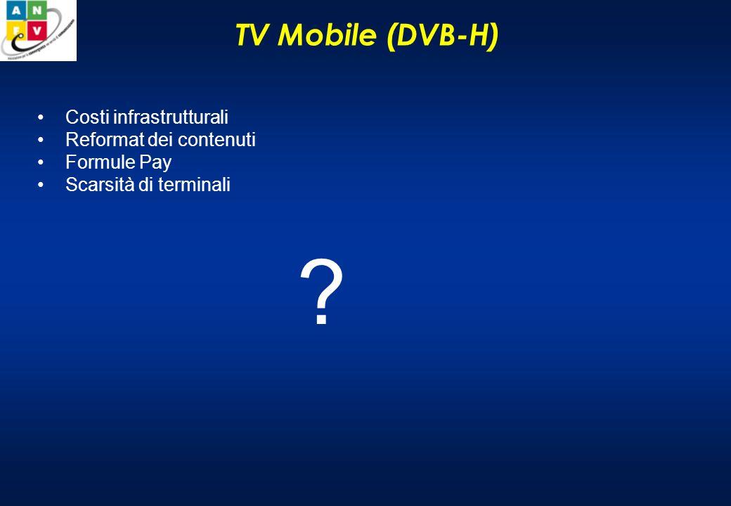 TV Mobile (DVB-H) Costi infrastrutturali Reformat dei contenuti Formule Pay Scarsità di terminali ?