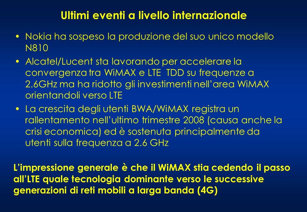 Ultimi eventi a livello internazionale Nokia ha sospeso la produzione del suo unico modello N810 Alcatel/Lucent sta lavorando per accelerare la convergenza tra WiMAX e LTE TDD su frequenze a 2.6GHz ma ha ridotto gli investimenti nellarea WiMAX orientandoli verso LTE La crescita degli utenti BWA/WiMAX registra un rallentamento nellultimo trimestre 2008 (causa anche la crisi economica) ed è sostenuta principalmente da utenti sulla frequenza a 2.6 GHz Limpressione generale è che il WiMAX stia cedendo il passo allLTE quale tecnologia dominante verso le successive generazioni di reti mobili a larga banda (4G)