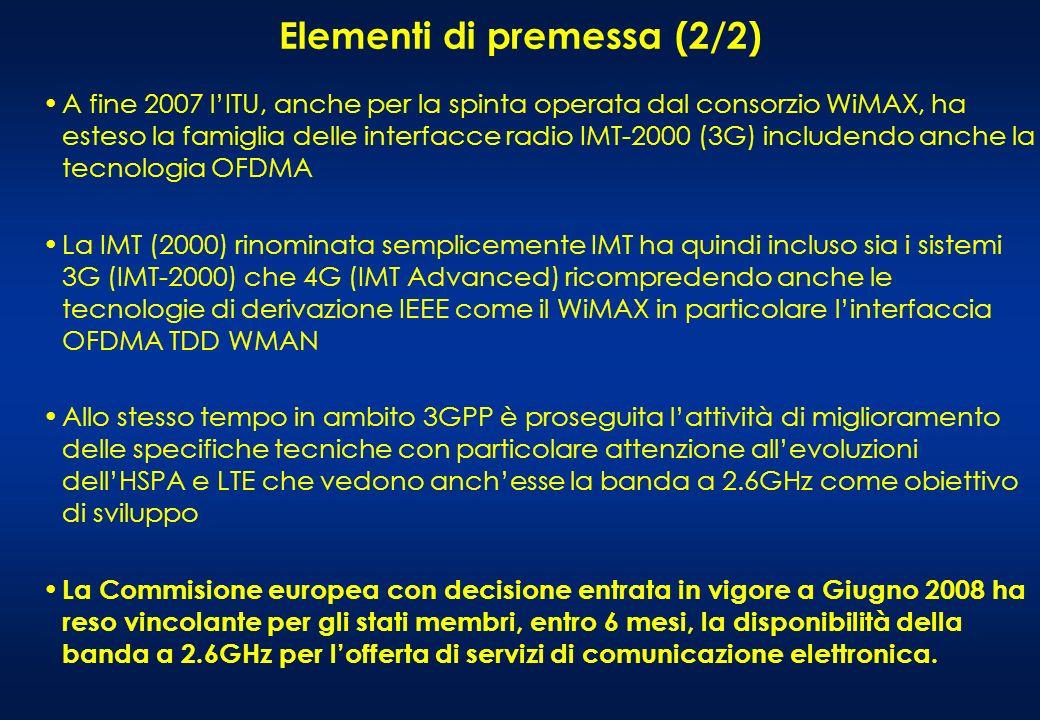 A fine 2007 lITU, anche per la spinta operata dal consorzio WiMAX, ha esteso la famiglia delle interfacce radio IMT-2000 (3G) includendo anche la tecnologia OFDMA La IMT (2000) rinominata semplicemente IMT ha quindi incluso sia i sistemi 3G (IMT-2000) che 4G (IMT Advanced) ricompredendo anche le tecnologie di derivazione IEEE come il WiMAX in particolare linterfaccia OFDMA TDD WMAN Allo stesso tempo in ambito 3GPP è proseguita lattività di miglioramento delle specifiche tecniche con particolare attenzione allevoluzioni dellHSPA e LTE che vedono anchesse la banda a 2.6GHz come obiettivo di sviluppo La Commisione europea con decisione entrata in vigore a Giugno 2008 ha reso vincolante per gli stati membri, entro 6 mesi, la disponibilità della banda a 2.6GHz per lofferta di servizi di comunicazione elettronica.