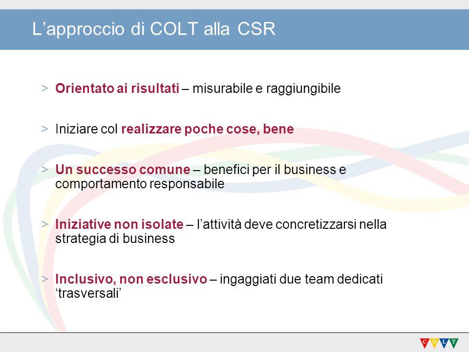 Lapproccio di COLT alla CSR >Orientato ai risultati – misurabile e raggiungibile >Iniziare col realizzare poche cose, bene >Un successo comune – benef