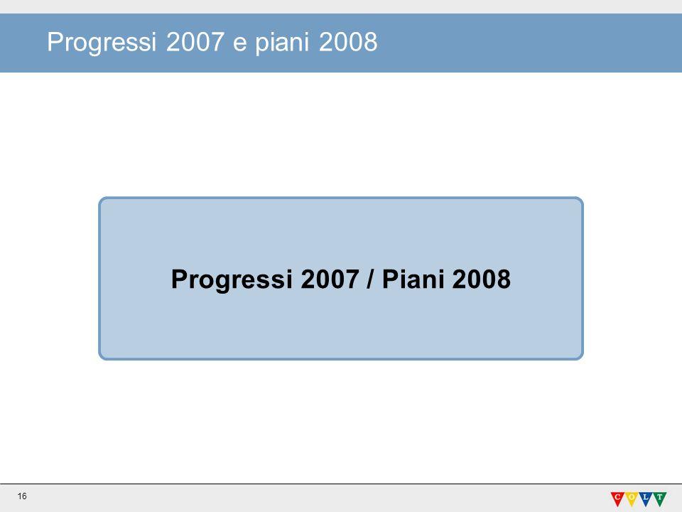 Progressi 2007 / Piani 2008 Progressi 2007 e piani 2008 16