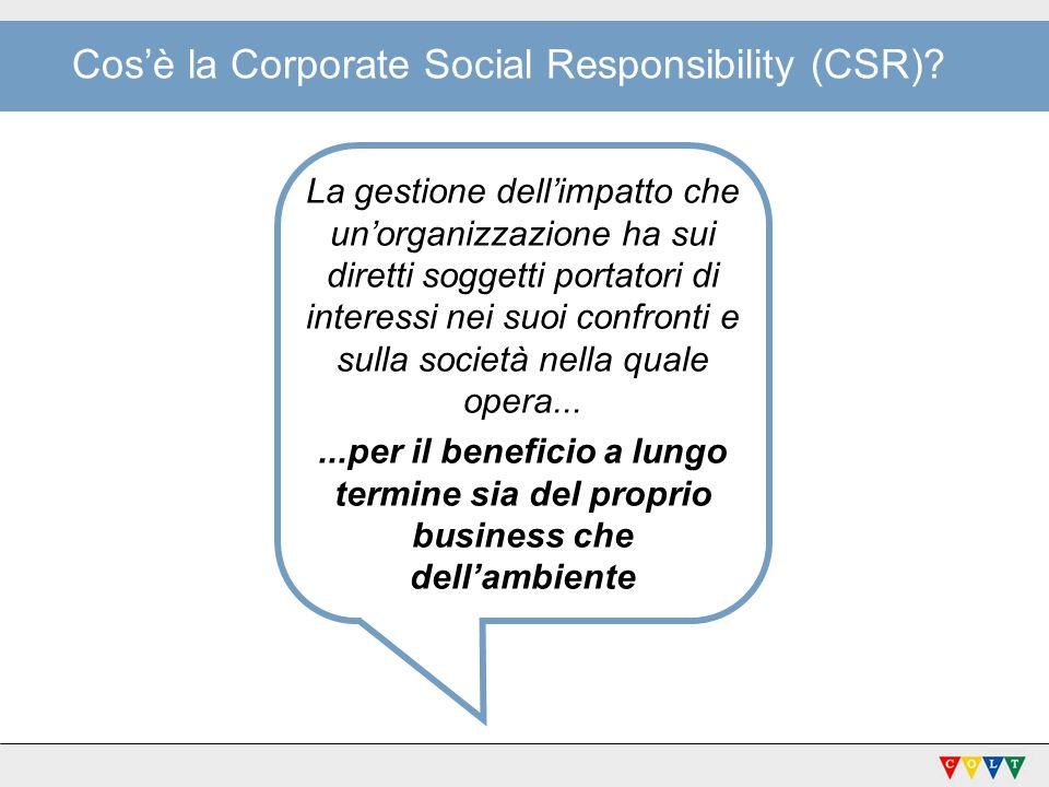 Cosè la Corporate Social Responsibility (CSR)? La gestione dellimpatto che unorganizzazione ha sui diretti soggetti portatori di interessi nei suoi co