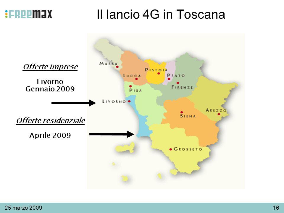 1625 marzo 2009 Il lancio 4G in Toscana Offerte residenziale Aprile 2009 Offerte imprese Livorno Gennaio 2009