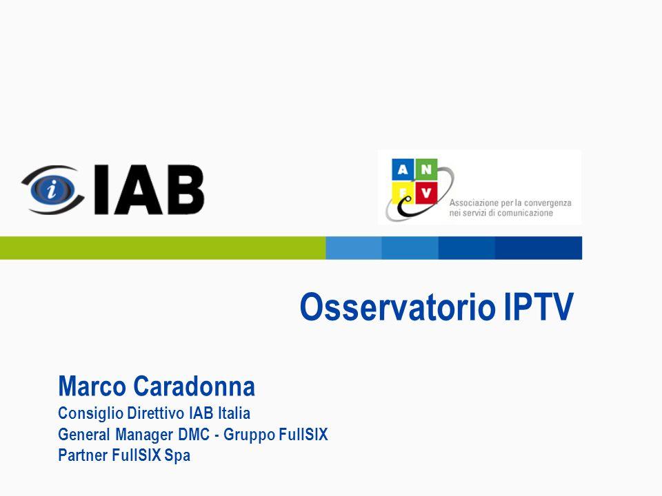 Osservatorio IPTV Marco Caradonna Consiglio Direttivo IAB Italia General Manager DMC - Gruppo FullSIX Partner FullSIX Spa