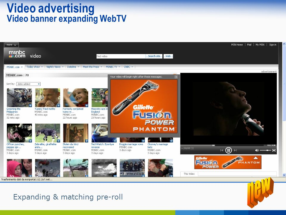 Video advertising Video banner expanding WebTV Expanding & matching pre-roll