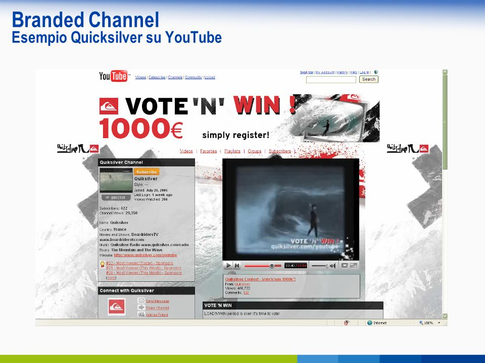 Branded Channel Esempio Quicksilver su YouTube